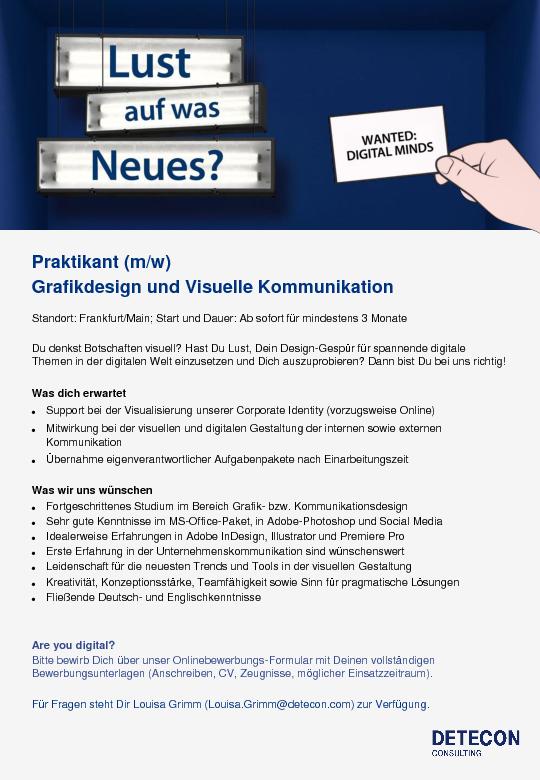 Praktika und jobs hochschule rheinmain for Interior design praktikum