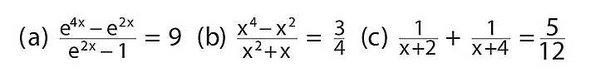 Bestimmen Sie x aus den folgenden Gleichungen!