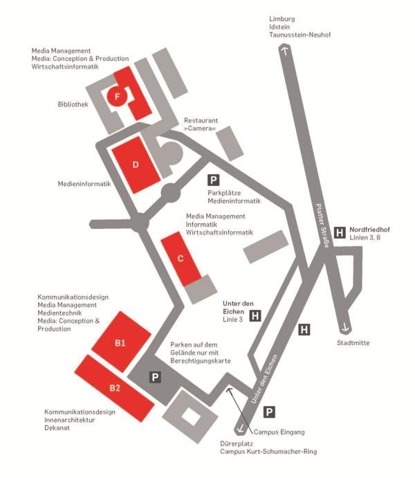 Lageplan Mediencampus Wiesbaden unter den Eichen