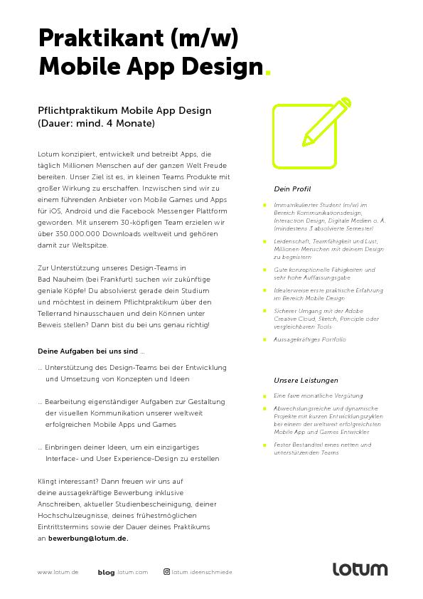 Praktika und jobs hochschule rheinmain for Praktikum design frankfurt