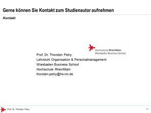 © Prof. Dr. Thorsten Petry, HS RheinMain: Enterprise 2.0 Studie 2017 - Kontakt