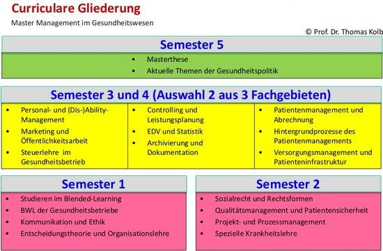 Curriculum Master-Studiengang Management im Gesundheitswesen