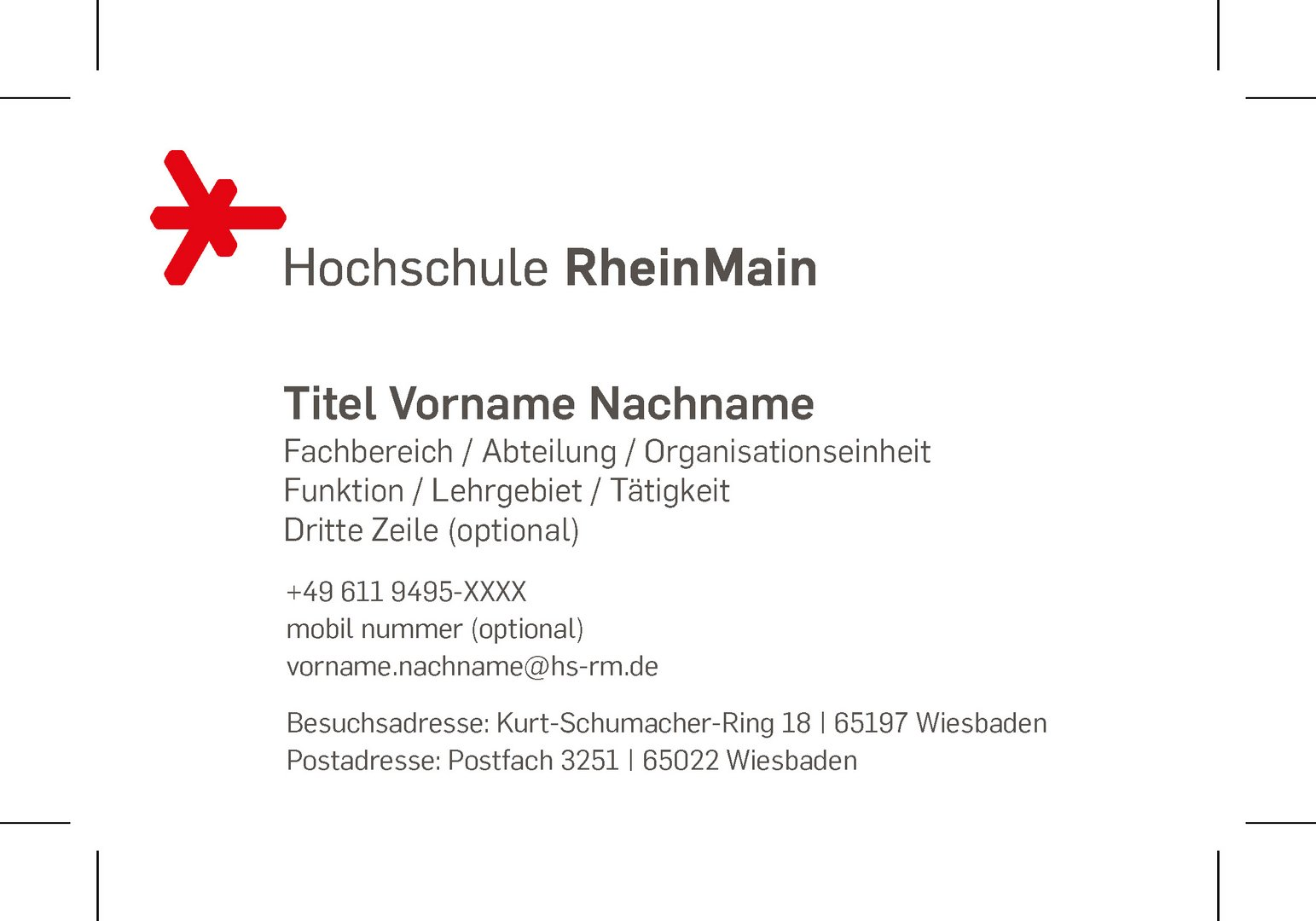 Visitenkarten Hochschule Rheinmain